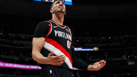 <p>               Portland Trail Blazers center Enes Kanter reacts after being called for a foul against the Denver Nuggets in the first half of Game 1 of an NBA basketball second-round playoff series Monday, April 29, 2019, in Denver. (AP Photo/David Zalubowski)             </p>
