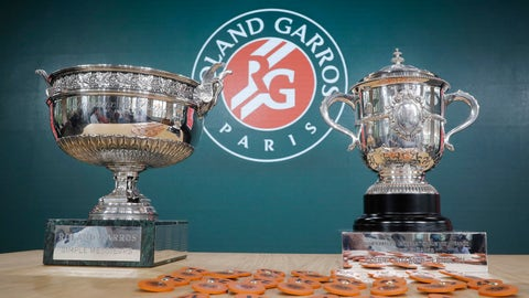 <p>               Men's single, left, and women's single cups are displayed during the draw of the French Open tennis tournament at the Roland Garros stadium in Paris, Thursday, May 23, 2019. The French Open tennis tournament starts Sunday May 26. (AP Photo/Michel Euler)             </p>