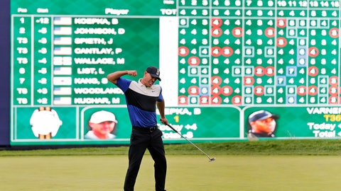 <p>               Brooks Koepka reacts after winning the PGA Championship golf tournament, Sunday, May 19, 2019, at Bethpage Black in Farmingdale, N.Y. (AP Photo/Seth Wenig)             </p>
