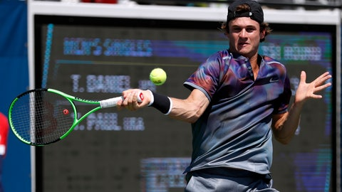 <p>               FILE - In this Aug. 30, 2017, file photo, Tommy Paul, of the United States, returns a shot from Taro Daniel, of Japan, during the first round of the U.S. Open tennis tournament in New York. Paul, who grew up in North Carolina and is based in Florida, aims to make a Grand Slam breakthrough when he heads to his first French Open main draw thanks to winning the U.S. Tennis Association wild-card challenge. (AP Photo/Michael Noble, File)             </p>