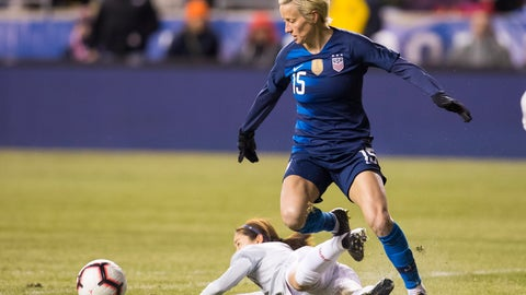 <p>               FILE - In this Feb. 27, 2019, file photo, United States' Megan Rapinoe, right, and Japan's Risa Shimizu, left, go after the ball during the first half of SheBelieves Cup soccer match in Chester, Pa. (AP Photo/Chris Szagola, File)             </p>