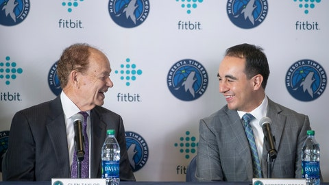 <p>               Minnesota Timberwolves NBA basketball team owner Glen Taylor, left, introduces new team president of basketball operations Gersson Rosas during a press conference at the Target Center in Minneapolis, Monday, May 6, 2019.  (Elizabeth Flores/Star Tribune via AP)             </p>