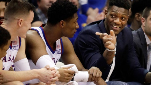 <p>               FILE - In this Feb. 2, 2019, file photo, Kansas forward Silvio De Sousa, right, points to teammates during the second half of an NCAA college basketball game against Texas Tech in Lawrence, Kan. De Sousa will be eligible to play next season after the NCAA's reinstatement committee agreed Friday with an appeal filed by the school. (AP Photo/Orlin Wagner, File)             </p>