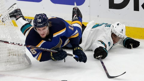 <p>               St. Louis Blues center Robert Thomas (18) falls as he chases the puck with San Jose Sharks left wing Evander Kane (9) during the first period in Game 6 of the NHL hockey Stanley Cup Western Conference final series Tuesday, May 21, 2019, in St. Louis. (AP Photo/Tom Gannam)             </p>