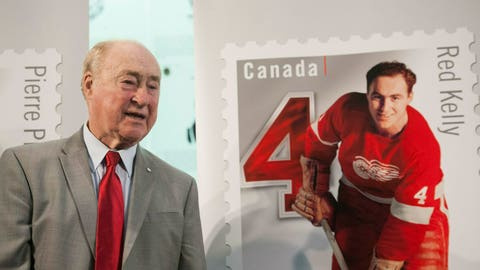 <p>               FILE - In this Feb. 1, 2019, file photo, former Detroit Red Wings player Red Kelly stands beside his Canadian stamp during the unveiling of the NHL stamp series featuring defensemen from the original six NHL teams, at the Hockey Hall of Fame in Toronto. Kelly, a defenseman-turned-center whose Hall of Fame career included eight Stanley Cups while playing for Detroit and Toronto, has died, Thursday, May 1, 2019, in Toronto, He was 91. (Hannah Yoon/The Canadian Press via AP, File)             </p>