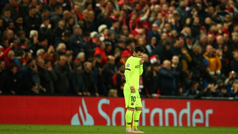 <p>               Barcelona's Lionel Messi leaves the playing field after losing the Champions League semifinal, second leg, soccer match against Liverpool at the Anfield stadium in Liverpool, England, Tuesday, May 7, 2019. (AP Photo/Dave Thompson)             </p>