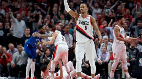 <p>               Portland Trail Blazers guard Rodney Hood gestures during the second half of Game 6 of the team's NBA basketball second-round playoff series against the Denver Nuggets on Thursday, May 9, 2019, in Portland, Ore. The Trail Blazers won 119-108. (AP Photo/Craig Mitchelldyer)             </p>