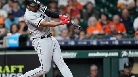 <p>               Chicago White Sox's Eloy Jimenez hits a home run against the Houston Astros during the eighth inning of a baseball game Wednesday, May 22, 2019, in Houston. (AP Photo/David J. Phillip)             </p>