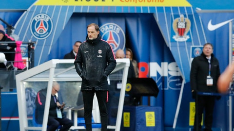 <p>               PSG coach Thomas Tuchel watches his team during the French League One soccer match between Paris Saint-Germain and Nice at the Parc des Princes stadium in Paris, France, Saturday, May 4, 2019. (AP Photo/Christophe Ena)             </p>