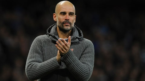<p>               Manchester City manager Pep Guardiola greets supporters at the end of the English Premier League soccer match between Manchester City and Leicester City at the Etihad stadium in Manchester, England, Monday, May 6, 2019. (AP Photo/Rui Vieira)             </p>