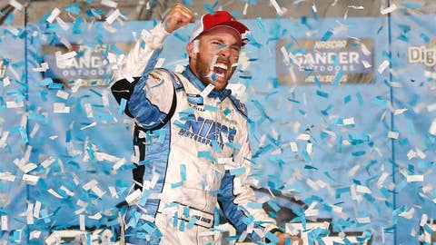 KANSAS CITY, KS - MAY 10:  Ross Chastain, driver of the #45 TruNorth/Paul Jr. Designs Chevrolet, celebrates in victory lane after winning the NASCAR Gander Outdoors Truck Series Digital Ally 250 at Kansas Speedway on May 10, 2019 in Kansas City, Kansas.  (Photo by Brian Lawdermilk/Getty Images)