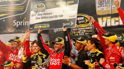 CONCORD, NC - MAY 16:  Tony Stewart, driver of the #14 Office Depot Chevrolet, celebrates in victory lane after winning the NASCAR Sprint All-Star Race on May 16, 2009 at Lowe's Motor Speedway in Concord, North Carolina.  (Photo by Geoff Burke/Getty Images for NASCAR)