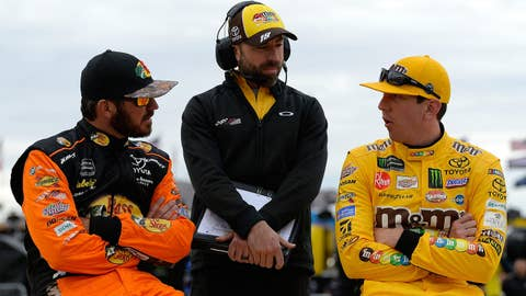 LAS VEGAS, NV - MARCH 01:  Martin Truex Jr., driver of the #19 Bass Pro Shops Toyota, Adam Stevens, crew chief of the #18 M&M's Chocolate Bar Toyota, and Kyle Busch, driver of the #18 M&M's Chocolate Bar Toyota, during qualifying for the Monster Energy NASCAR Cup Series Pennzoil 400 at Las Vegas Motor Speedway on March 1, 2019 in Las Vegas, Nevada.  (Photo by Robert Laberge/Getty Images)