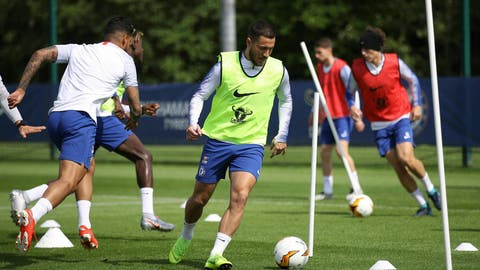 <p>               Chelsea's Eden Hazard attends a training session at Cobham Training Ground, London, Wednesday, May 22, 2019. (Tim Goode/PA via AP)             </p>