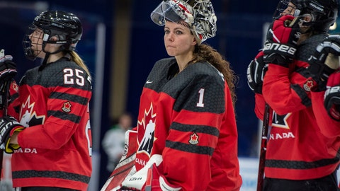 <p>               FILE - In this Nov. 10, 2018, file photo, Canada goaltender Shannon Szabados watch as U.S. players celebrate a win during the Four Nations Cup hockey gold-medal game in Saskatoon, Saskatchewan. More than 200 of the top female hockey players in the world have decided they will not play professionally in North America next season, hoping their stand leads to a single economically sustainable league. The announcement Thursday, May 2, 2019, comes after the Canadian Women's Hockey League abruptly shut down as of Wednesday, leaving the five-team, U.S.-based National Women's Hockey League as the only pro league in North America. The group of players, led by American stars Hilary Knight and Kendall Coyne Schofield and Canadian goaltender Shannon Szabados, hopes their move eventually pushes the NHL to start its own women's hockey league as the NBA did with the WNBA. (Liam Richards/The Canadian Press via AP)             </p>
