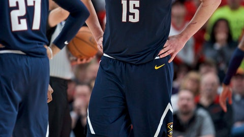 <p>               Denver Nuggets center Nikola Jokic grimaces as he walks off the court against the Portland Trail Blazers during the first half of Game 4 of an NBA basketball second-round playoff series, Sunday, May 5, 2019, in Portland, Ore. The Nuggets won 116-112. (AP Photo/Craig Mitchelldyer)             </p>