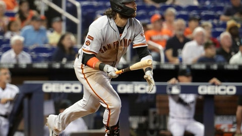 <p>               San Francisco Giants' Brandon Crawford watches after hitting a ground rule double to score two runs during the eighth inning of a baseball game against the Miami Marlins, Thursday, May 30, 2019, in Miami. (AP Photo/Lynne Sladky)             </p>