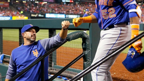 "<p>               FILE - In this April 24, 2018, file photo, New York Mets' Yoenis Cespedes (52) is congratulated by manager Mickey Callaway after hitting a three-run home run during the fifth inning of a baseball game against the St. Louis Cardinals in St. Louis. The slumping Mets have announced they are sticking with embattled manager Callaway ""for the foreseeable future"" _ and sidelined slugger Cespedes broke his right ankle in an accident on his ranch. (AP Photo/Jeff Roberson, File)             </p>"