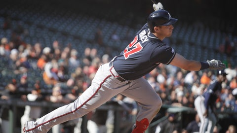 <p>               Atlanta Braves' Austin Riley follows through on an RBI single off San Francisco Giants' Reyes Moronta during the 13th inning inning of a baseball game Thursday, May 23, 2019, in San Francisco. (AP Photo/Ben Margot)             </p>
