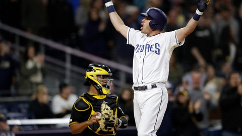 <p>               San Diego Padres' Ian Kinsler celebrates after hitting a three-run home run, next to Pittsburgh Pirates catcher Elias Diaz during the sixth inning of a baseball game Thursday, May 16, 2019, in San Diego. (AP Photo/Gregory Bull)             </p>