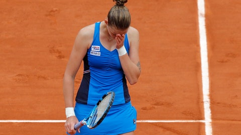 <p>               Karolina Pliskova of the Czech Republic reacts after missing a shot against Croatia's Petra Martic during their third round match of the French Open tennis tournament at the Roland Garros stadium in Paris, Friday, May 31, 2019. Martic won in two sets 6-3, 6-3. (AP Photo/Michel Euler)             </p>