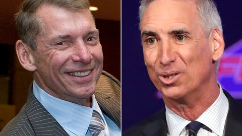 <p>               FILE - At left, in a May 18, 2012, file photo, Vince McMahon is shown at the Republican state convention in Hartford, Conn. At right, in a Feb. 7, 2019, file photo, XFL Commissioner and CEO Oliver Luck makes comments during a news conference in Arlington, Texas. The XFL has reached multiyear agreements with ESPN and Fox Sports to broadcast its games beginning in 2020. The league also announced Monday, May 6, 2019, that its season will start Feb. 8, the weekend after the NFL season ends with the Super Bowl. This is the second time Vince McMahon has launched a football league. (AP Photo/File)             </p>