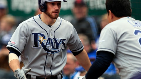 <p>               Tampa Bay Rays' Brandon Lowe, left, is congratulated by teammate Ji-Man Choi, right, after hitting a two-run home run in the ninth inning of a baseball game against the Kansas City Royals at Kauffman Stadium in Kansas City, Mo., Thursday, May 2, 2019. The Rays defeated the Royals 3-1. (AP Photo/Orlin Wagner)             </p>