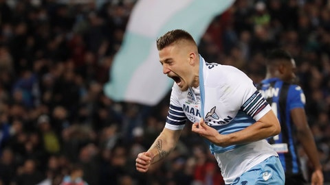 <p>               Lazio's Sergej Milinkovic Savic celebrates after scoring his side's opening goal during the Italian Cup soccer final match between Lazio and Atalanta, at the Rome Olympic stadium, Wednesday, May 15, 2019. (AP Photo/Alessandra Tarantino)             </p>