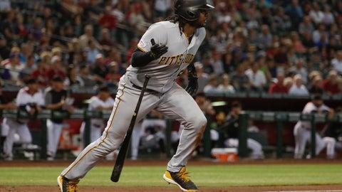 <p>               Pittsburgh Pirates' Josh Bell watches his double against the Arizona Diamondbacks during the second inning of a baseball game in Phoenix, Wednesday, May 15, 2019. (AP Photo/Matt York)             </p>