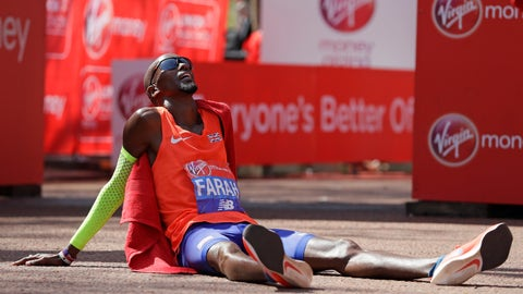 <p>               FILE - In this Sunday, April 22, 2018 file photo, Britain's Mo Farah rests after crossing the finish line to place third in the Men's race in the London Marathon in central London. A gym employee at the Yaya Village hotel in Ethiopia owned by the retired distance-running great Haile Gebrselassie accused four-time Olympic champion Mo Farah of grabbing him by the neck and shoving him, a second allegation of assault that emerged Thursday, April 25, 2019 following an extraordinary public feud between Farah and Gebrselassie. (AP Photo/Kirsty Wigglesworth, File)             </p>