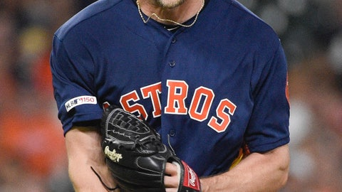 <p>               Houston Astros starting pitcher Gerrit Cole reacts after striking out Texas Rangers' Hunter Pence to end the top of the fourth inning of a baseball game Saturday, May 11, 2019, in Houston. (AP Photo/Eric Christian Smith)             </p>