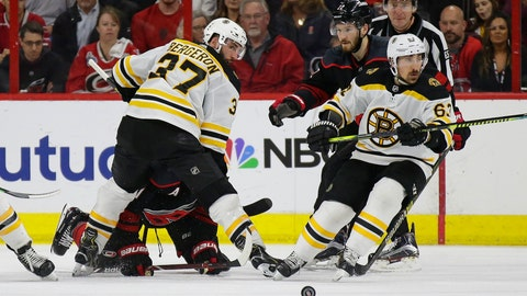 <p>               Boston Bruins' Patrice Bergeron (37) and Brad Marchand (63) skate for the puck with Carolina Hurricanes' Brett Pesce (22) and Jordan Staal during the second period in Game 3 of the NHL hockey Stanley Cup Eastern Conference final series in Raleigh, N.C., Tuesday, May 14, 2019. (AP Photo/Gerry Broome)             </p>