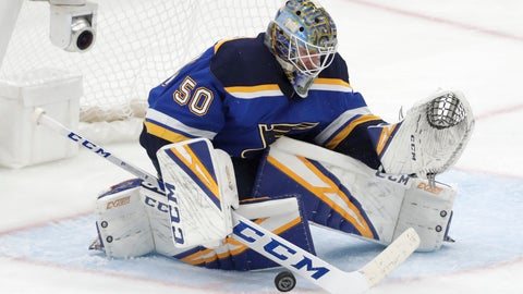 <p>               St. Louis Blues goaltender Jordan Binnington blocks a shot against the San Jose Sharks during the third period in Game 6 of the NHL hockey Stanley Cup Western Conference final series Tuesday, May 21, 2019, in St. Louis. (AP Photo/Tom Gannam)             </p>