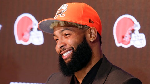<p>               FILE - In this April 1, 2019, file photo, Cleveland Browns' Odell Beckham answers questions during an NFL football news conference in Berea, Ohio. The star wide receiver reported to the team's headquarters Monday and is on the field Tuesday, May 14, 2019, for practice. (AP Photo/Ron Schwane, File)             </p>