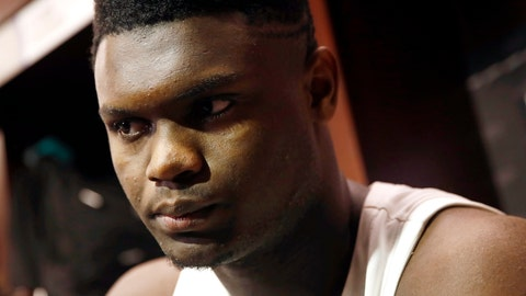 <p>               FILE - In this March 31, 2019, file photo, Duke forward Zion Williamson speaks with the news media in the locker room after an NCAA men's East Regional final college basketball game against Michigan State in Washington. Williamson's immediate future is likely to be decided by the bounce of 14 ping-pong balls. The NBA draft lottery is Tuesday, May 14, 2019 in Chicago, where some team will be awarded the No. 1 pick in the June 20 draft _ and, presumably, the chance to grab Williamson with that selection. (AP Photo/Patrick Semansky, file)             </p>