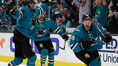 <p>               San Jose Sharks' Evander Kane, left, and Joonas Donskoi celebrate a goal by Tomas Hertl (48) during the third period of Game 5 of the team's NHL hockey second-round playoff series against the Colorado Avalanche on Saturday, May 4, 2019, in San Jose, Calif. (AP Photo/Ben Margot)             </p>