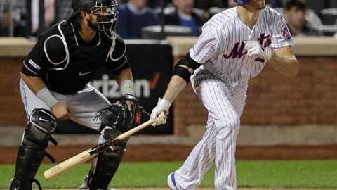 <p>               New York Mets' Jacob deGrom follows through on a RBI single during the sixth inning of the team's baseball game against the Miami Marlins Saturday, May 11, 2019, in New York. (AP Photo/Frank Franklin II)             </p>