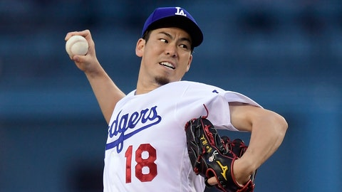 <p>               Los Angeles Dodgers starting pitcher Kenta Maeda, of Japan, throws during the first inning of the team's baseball game against the San Diego Padres on Wednesday, May 15, 2019, in Los Angeles. (AP Photo/Mark J. Terrill)             </p>
