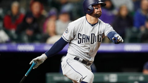 <p>               San Diego Padres' Greg Garcia hits a grounder with the bases loaded to drive in the go-ahead run in the ninth inning of the team's baseball game against the Colorado Rockies on Saturday, May 11, 2019, in Denver. San Diego won 4-3. (AP Photo/David Zalubowski)             </p>