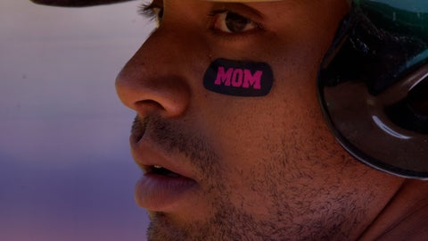 <p>               CORRECTS YEAR TO 2019-Oakland Athletics designated hitter Khris Davis (2) sports Mother's Day-themed eye blacks as he waits on deck during the first inning of a baseball game against the Cleveland Indians, Sunday, May 12, 2019, in Oakland, Calif. (AP Photo/D. Ross Cameron)             </p>