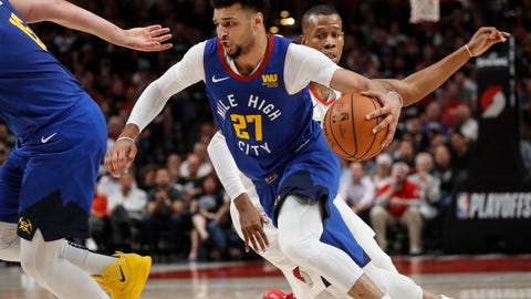 <p>               Denver Nuggets guard Jamal Murray drives to the basket during the first half of Game 6 of the team's NBA basketball second-round playoff series against the Portland Trail Blazers on Thursday, May 9, 2019, in Portland, Ore. (AP Photo/Thomas Boyd)             </p>