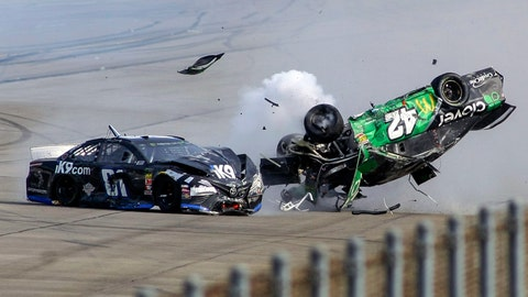 <p>               Kyle Larson (42) flips as he makes contact with  Jeffrey Earnhardt (81) on the back stretch during a NASCAR Cup Series auto race at Talladega Superspeedway, Sunday, April 28, 2019, in Talladega, Ala. (AP Photo/Greg McWilliams)             </p>