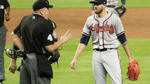 <p>               Home plate umpire Jeff Nelson, left, talks with Atlanta Braves starting pitcher Kevin Gausman after Gausman was ejected for throwing at Miami Marlins' Jose Urena during the second inning of a baseball game Friday, May 3, 2019, in Miami. (AP Photo/Lynne Sladky)             </p>