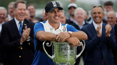 <p>               Brooks Koepka poses with the Wanamaker Trophy after winning the PGA Championship golf tournament, Sunday, May 19, 2019, at Bethpage Black in Farmingdale, N.Y. (AP Photo/Julio Cortez)             </p>