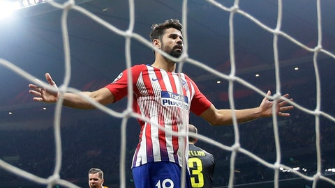 <p>               FILE - In this Wednesday, Feb. 20, 2019 file photo, Atletico forward Diego Costa reacts after missing to score during the Champions League round of 16 first leg soccer match between Atletico Madrid and Juventus at Wanda Metropolitano stadium in Madrid. Atletico Madrid says Diego Costa sprained his left ankle in the team's 2-1 loss in a friendly at Beitar Jerusalem on Tuesday May 21, 2019. (AP Photo/Manu Fernandez, File)             </p>