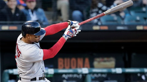 <p>               Boston Red Sox's Xander Bogaerts hits a two-run home run against the Chicago White Sox during the third inning of a baseball game in Chicago, Saturday, May 4, 2019. (AP Photo/Nam Y. Huh)             </p>