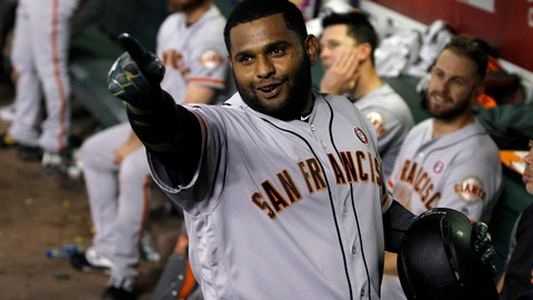 <p>               San Francisco Giants' Pablo Sandoval celebrates in the dugout after hitting a pinch-hit home run against the Arizona Diamondbacks during the eighth inning of a baseball game Saturday, May 18, 2019, in Phoenix. (AP Photo/Ralph Freso)             </p>