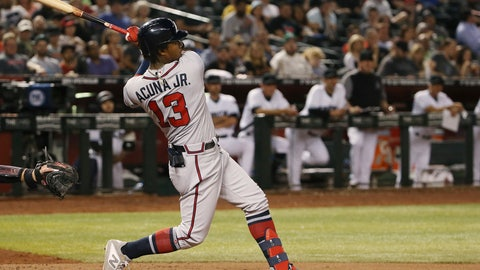 <p>               Atlanta Braves' Ronald Acuna Jr. watches his home run against the Arizona Diamondbacks during the eighth inning of a baseball game Friday, May 10, 2019, in Phoenix. (AP Photo/Ross D. Franklin)             </p>