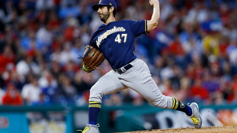 <p>               Milwaukee Brewers' Gio Gonzalez pitches during the third inning of the team's baseball game against the Philadelphia Phillies, Wednesday, May 15, 2019, in Philadelphia. (AP Photo/Matt Slocum)             </p>