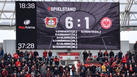 <p>               The scorer board shows six goals for Leverkusen and one goal for Frankfurt at halftime of the German Bundesliga soccer match between Bayer Leverkusen and Eintracht Frankfurt in Leverkusen, Germany, Sunday, May 5, 2019. (AP Photo/Martin Meissner)             </p>